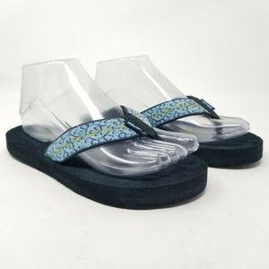 Womens TEVA Mush II Blue Multi Flip Flops Sandals